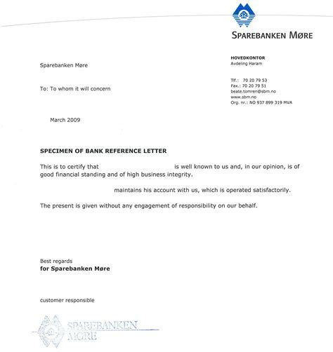 business letter format bank sle bank reference letters starting business