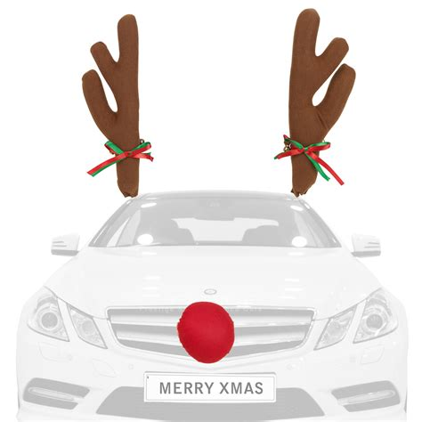 novelty christmas reindeer car antlers red nose xmas auto