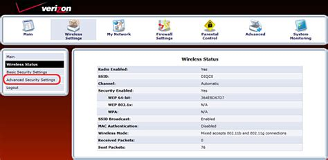 change mi424wr network to wpa2 encryption fios