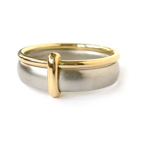 18k gold and palladium two band wedding ring