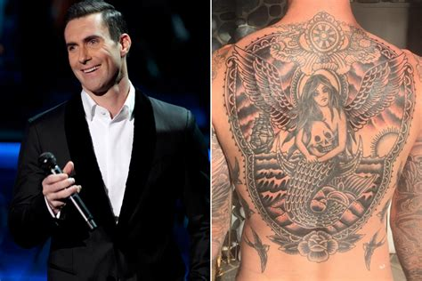 adam levine back tattoo adam levine unveils back page six