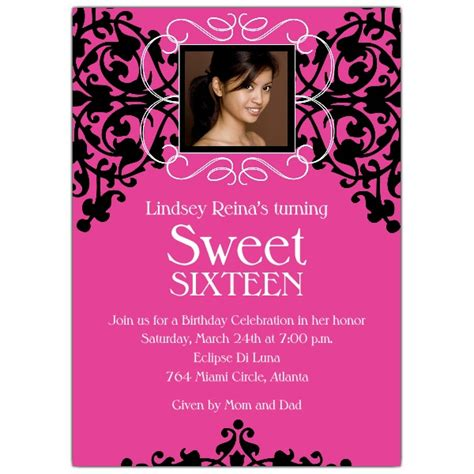 Drink Coasters by Sweet 16 Photo Card Pink And Black Invitations Paperstyle