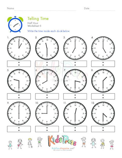clock worksheets on the hour telling time half hour worksheet 5 kidspressmagazine com