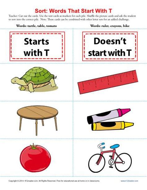 words starting with letter t beginning consonant worksheets