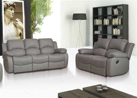 Recliner Sofa Suite Valencia 3 2 Leather Recliner Sofa Suite Grey Ebay