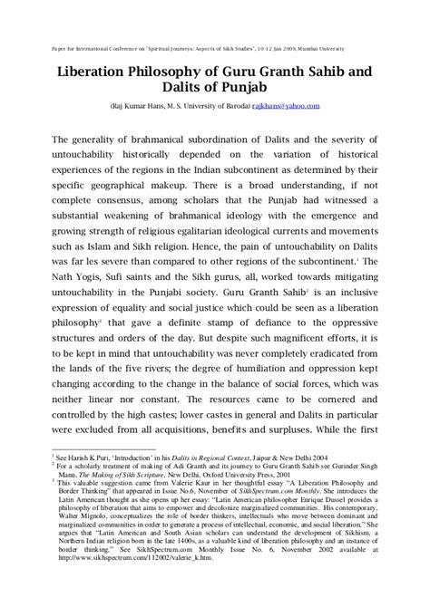 Liberation philosophy of guru granth sahib and dalits of ...