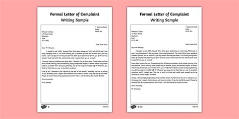 formal letter complaint writing sample primary resources