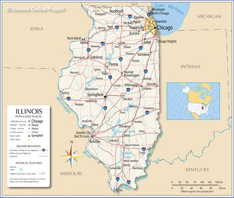 illinois on the map of usa reference maps of illinois usa nations project