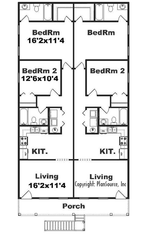 4 plex apartment floor plans j925 4 4 plex by plansource inc