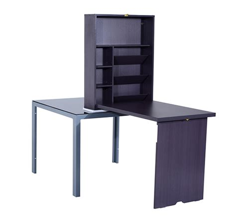 Fold Out Computer Desk Homcom Fold Out Convertible Desk Wall Mount Wooden Computer Table Storage Home Ebay