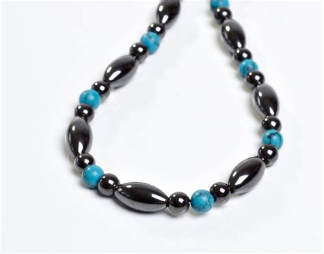 magnetic therapy necklace magnetite and turquiose custom made