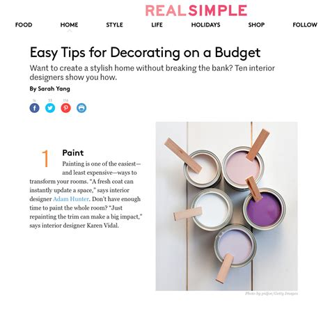 real simple design real simple easy tips for decorating on a budget