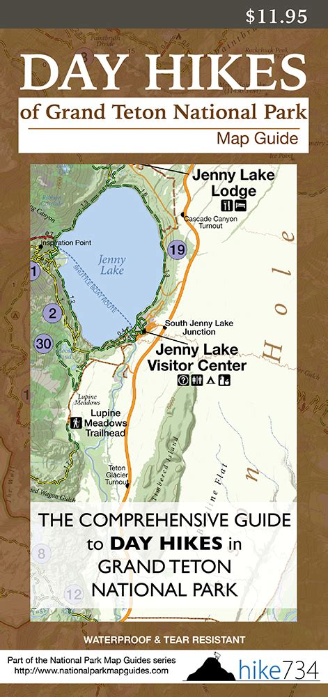 grand map and guide day hikes of grand teton national park map guide hike 734