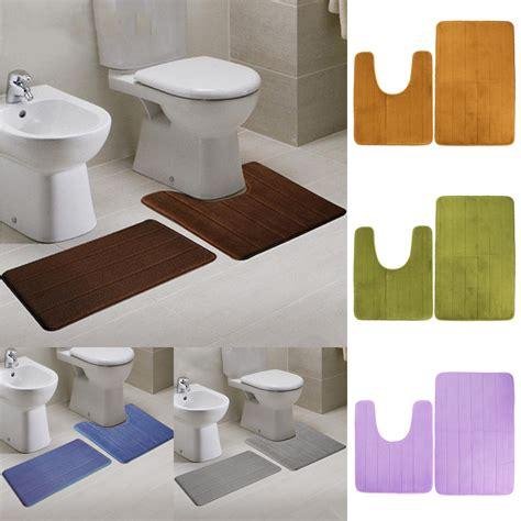 bathroom cushion floor 2pcs absorbent memory foam coral velvet toilet mat