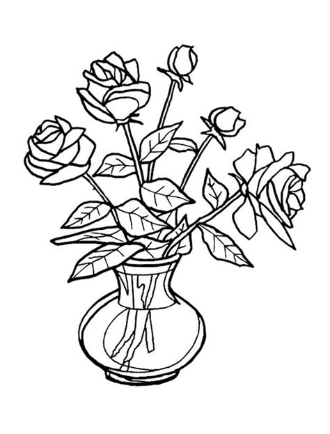 How To Draw A Vase Of Flowers Step By Step Rose Flower Vase Coloring Page Coloring Sky