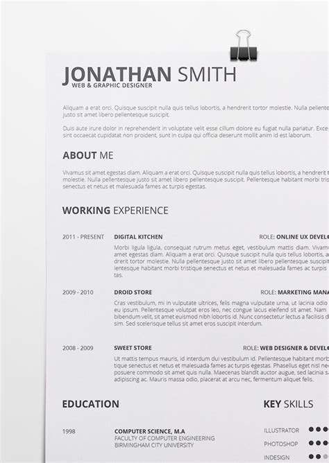 resume format for docx universal resume template docx doc pdf psd vol 1
