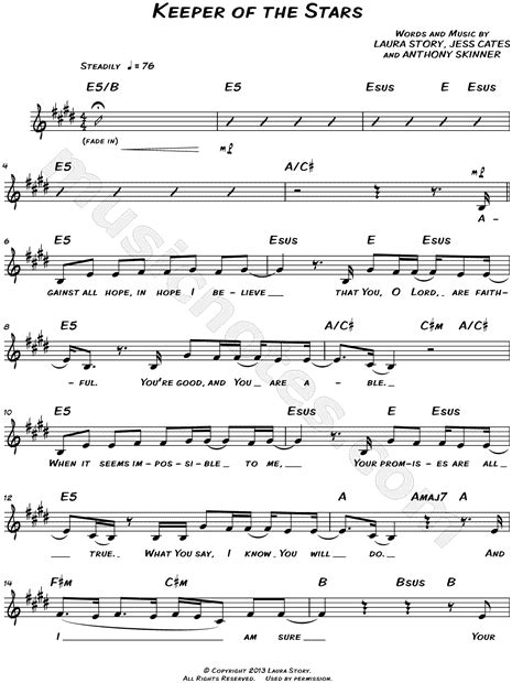 printable lyrics to keeper of the stars by tracy byrd laura story quot keeper of the stars quot sheet music leadsheet