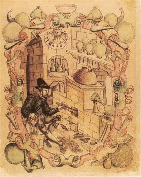 libro alchemy mysticism hermetic 97 alchemist in his laboratory miniature from janus lacinius manuscript 1583 alchemy