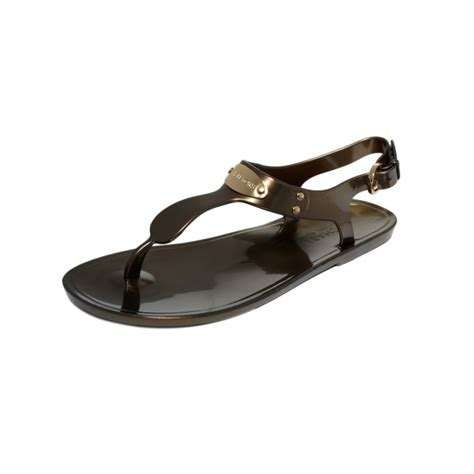 brown jelly sandals michael kors michael plate jelly sandals in brown bronze