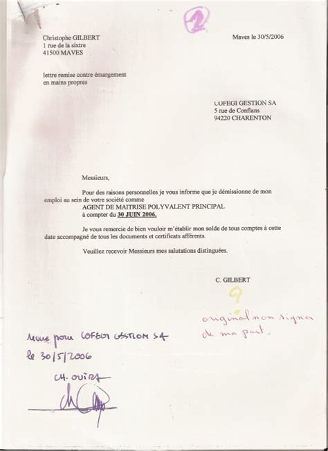 Modã Le Lettre Dã Mission Remise En Propre Lettre De Demission Positive Application Letter