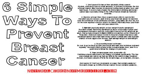 Six Great Ways To Prevent Cures Not Medicine 6 Simple Ways To Prevent Breast Cancer
