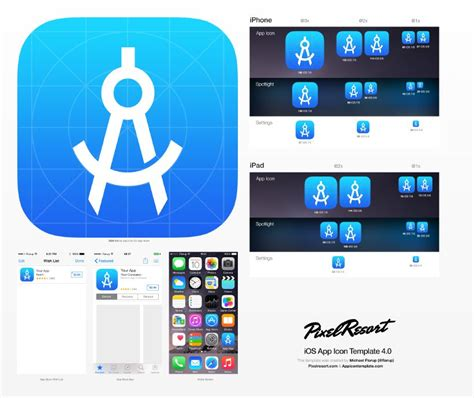 layout android photoshop app icon template that utilizes photoshop smart objects to