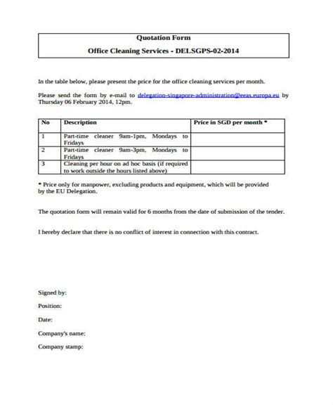 cleaning service forms templates 7 cleaning quotation sles templates sle templates