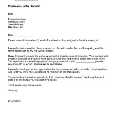proper resignation letter personal assistant
