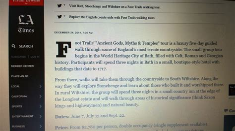 la times travel section la times los angeles features foot trails new guided