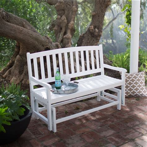 white outdoor glider bench 4 ft outdoor patio glider chair loveseat bench in white
