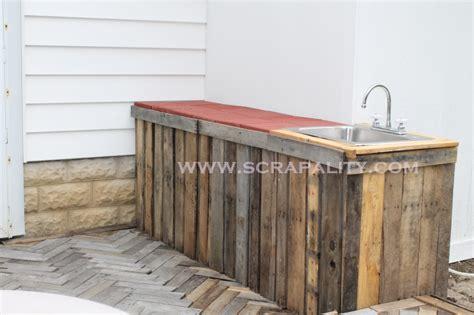 Pallet Countertop a Herringbone Pallet Deck Addition