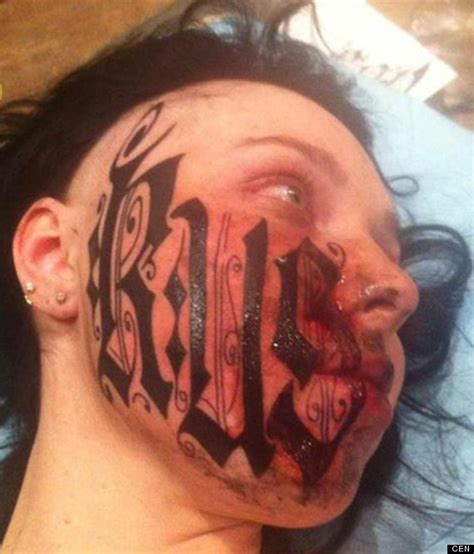 tattoo girl with books in head woman let boyfriend tattoo his name on her face a