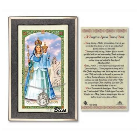 our of consolation holy card with sterling silver