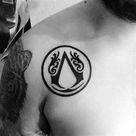 tattoo logo circle 60 assassins creed tattoo designs for men video game ink