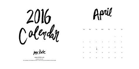 printable calendar 2016 calligraphy mr kate free printable 2016 calendar
