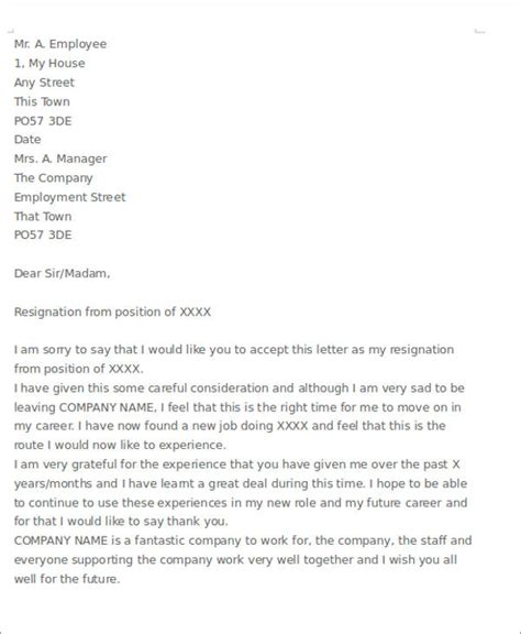Resignation Letter Exles With Regret Sle Resignation Letter With Regret 6 Exles In Pdf Word