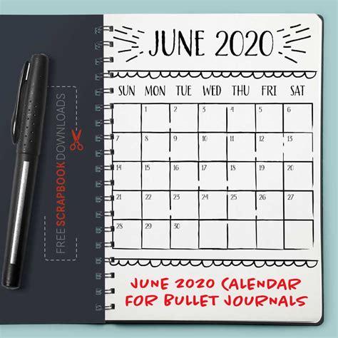 june  bullet journal calendar template  scrapbook downloads