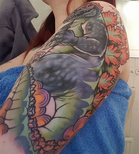 godzilla tattoos godzilla sleeve progress by rizza boo bath st
