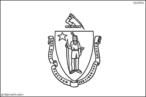 Massachusetts State Flag Coloring Page massachusetts state flag coloring page coloring home