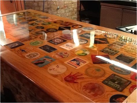bar top polyurethane displaying coasters