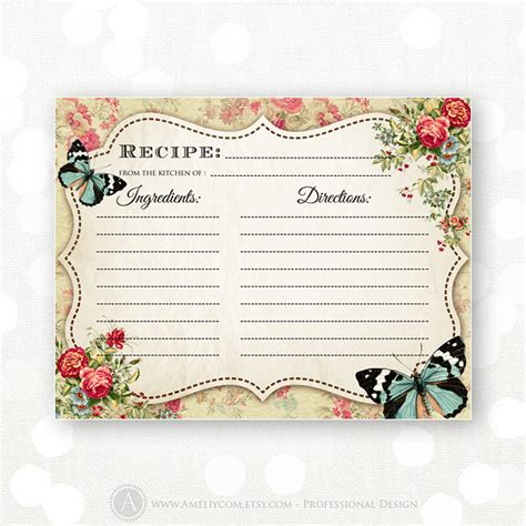 vintage recipe card psd template items similar to printable recipe cards instant
