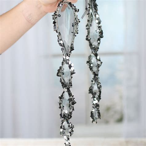 large beaded smoky acrylic icicle ornaments christmas