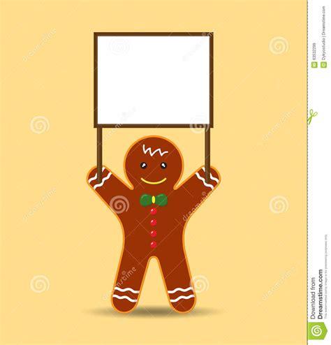 vector cookieman  gingerbread men holding blank banner  sign stock vector image