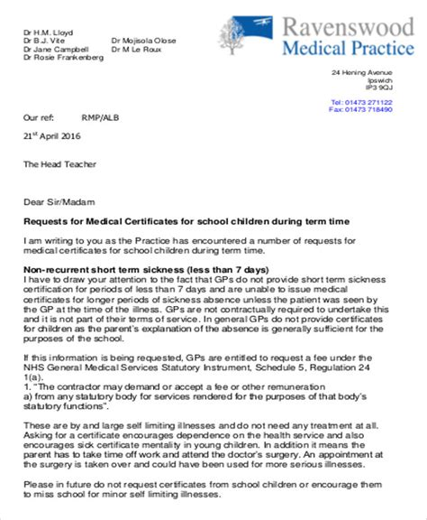 certification letter from doctor sle certificate for school 13 exles in