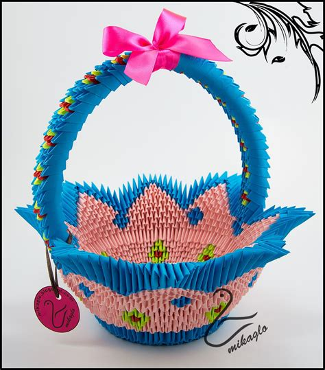 3d origami tutorial easy blue pink origami 3d basket tutorial gt mikaglo blogspot