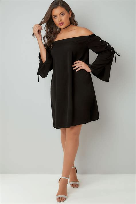 Dress Black Lace Cliona Limited limited collection black bardot dress with eyelet lace up