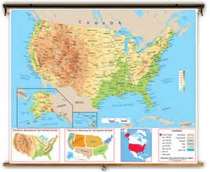 physical map of the united states with key