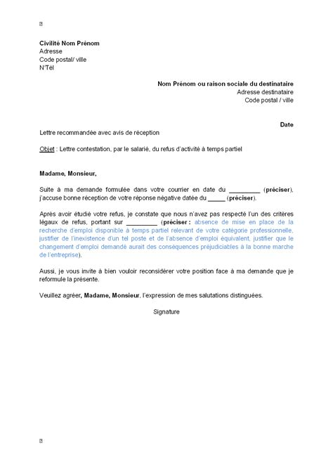 letter of application modele de lettre de travail