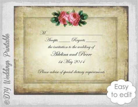 diy response cards template wedding rsvp template diy vintage quot