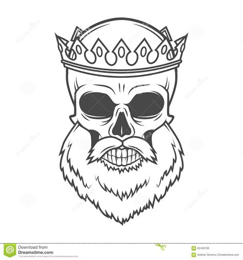 bearded skull king with crown vector design stock photo